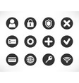 universal black white button icons vector image vector image