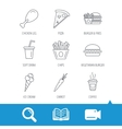 Vegetarian burger pizza and soft drink icons vector image vector image