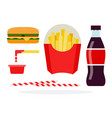 veggie burger french fries in package soda vector image vector image