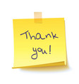 yellow sticky note with text thank you vector image