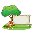 A tiger and the wooden frame vector image vector image