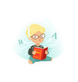adorable little boy sitting on floor surrounded by vector image vector image