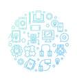 app development round blue concept outline vector image vector image