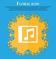 Audio MP3 file Floral flat design on a blue vector image