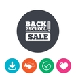 Back to school sign icon Back 2 school symbol vector image vector image