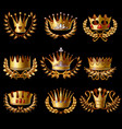beautiful gold royal crowns set vector image vector image