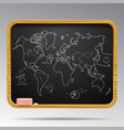 blackboard isolated with hand drawn world map and vector image vector image