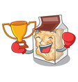 boxing winner pork rinds in character plastic vector image vector image