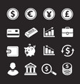 business and finance icons set bank coins vector image vector image