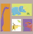 cartoon dinosaurs isolated vector image vector image