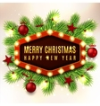 Christmas banner with red toys and garland vector image vector image