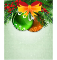 Christmas baubles with orange bow vector image vector image