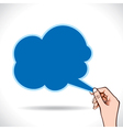 cloud shape message bubble in hand vector image vector image