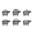 Cow set food labels badges and icons vector image vector image