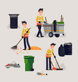 creative on city street cleaner at work in trendy vector image