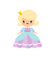 cute blonde little fairytale princess in beautiful vector image vector image