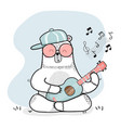 cute doodle white bear plays guitar vector image vector image