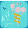 Cute greeting card with bunch of flower ribbon vector image