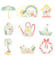 cute spring symbols decorated with floral seamless vector image