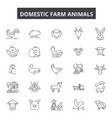 domestic farm animals line icons signs vector image vector image