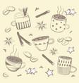 doodles coffee set for breakfast vector image vector image