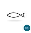 Fish simple black linear silhouette elegance logo vector image