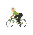 flat cheerful elderly woman riding bicycle vector image