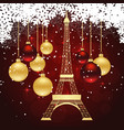 greeting card with eiffel tower vector image