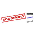 grunge coworking textured rectangle watermarks vector image vector image