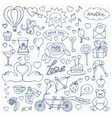 Hand drawn Love set on squared paper vector image vector image