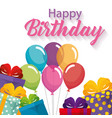 happy birthday card with balloons air vector image