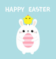 happy easter bunny holding painting egg chicken vector image vector image