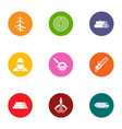harvesting wood icons set flat style vector image vector image