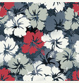 hibiscus flowers with halftone screen dots vector image