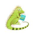 iguana reptile studying reading book kids design vector image