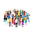 isometric dancing people characters crowd circle vector image