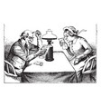 man and woman reading table sitting vintage vector image