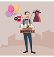 man selling on the street balloon glasses clothes vector image vector image