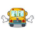 money eye school bus mascot cartoon vector image vector image