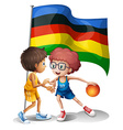 Olympics flag and basketball players