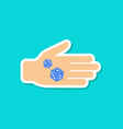 paper sticker on stylish background dices in hand vector image