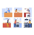 people cooking at kitchen set flat vector image