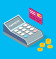 pos terminal credit card and stack golden vector image