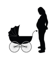 pregnant women with baby carriages vector image vector image