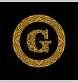premium elegant capital letter g in a round frame vector image vector image