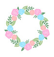 round banner with flowers on white background vector image vector image