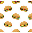 seamless pattern with burger on white vector image vector image