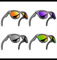 set of sunglasses with mirror lenses vector image vector image