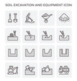 soil excavation icon vector image vector image