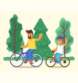 son and father riding bicycles family on bikes vector image